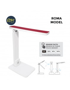 "Flexo led sobremesa 5w modelo ""roma"" color blanco/rojo interruptor-regulador tactil 220-240v edm"