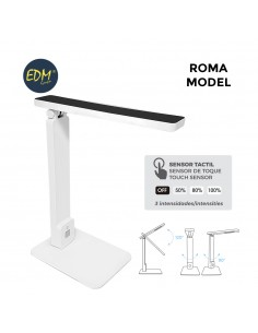 "Flexo led sobremesa 5w modelo ""roma"" color blanco/negro interruptor-regulador tactil 220-240v edm"