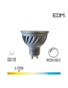 Bombilla led gu10 6w 480 lumens apertura 120º  regulable 3.200k luz calida edm