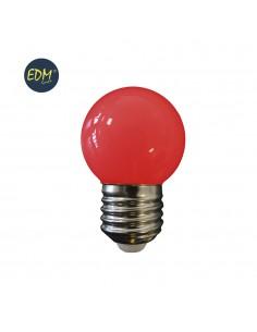 Bombilla esferica led - mate - e27 - 1,5w - roja - edm