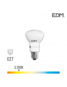 Bombilla reflectora led r63 smd 7w 470 lumens e27 3.200k luz calida edm
