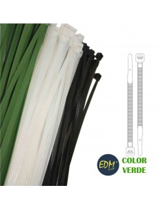 Bridas verdes 150x3,5 mm (bolsa 100 uni)