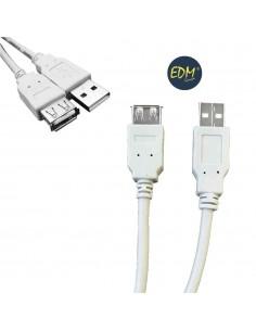 Cable usb tipo a macho a conexion usb tipo b hembra 1,80m edm