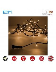 Guirnalda luminosa easy-connect 4m 60 leds blanco calido (ip44 interior-exterior) edm total 1,08w