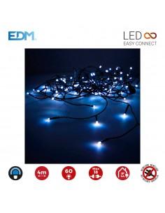 Guirnalda luminosa easy-connect 4m 60 leds azul 30v (ip44 interio-exterior) edm total 1,08w