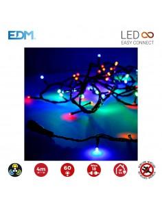 Guirnalda luminosa easy-connect 4m 60 leds multicolor 30v (ip44 interior-exterior) edm total 1,08w