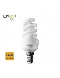 Bombilla bajo consumo espiral 15w 3.200k luz calida e14 lumeco