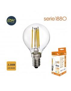 Bombilla esferica filamento de led 4w 400 lumens e14 3.200k luz calida serie 1880 edm