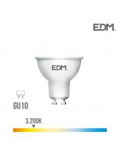 Bombilla dicroica gu10 smd 550 lumens 7w apertura 120º 3.200k luz calida edm