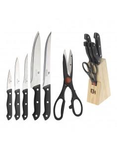 Taco con 5 cuchillos + 1 tijera de cocina