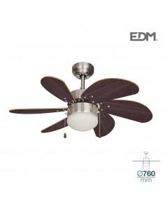 Ventilador techo modelo aral cromo/wengue ø76cm 80m3/min edm