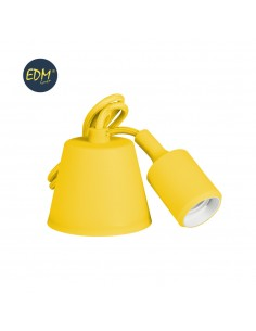 Colgante de silicona e27 60w amarillo (98,4 cm) edm