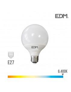 Bombilla globo ø 125mm led15w e27 6.400k luz fria edm