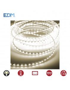 Tira de led 60 leds/mts 4,2w/m blanco calido 3.200k edm 220-240v (uso interior-exterior) ip44  euro/mts