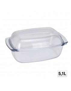 Fuente rectangular cristal con tapa 5l 24x11cm