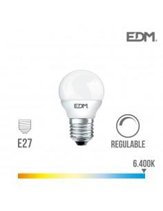 Bombilla esferica led - regulable - e27 - 5,5w - 500 lumens - 6400k - luz fria - edm