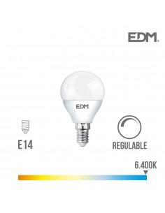 Bombilla esferica led - regulable - e14 - 5,5w - 500 lumens - 6400k - luz fria - edm
