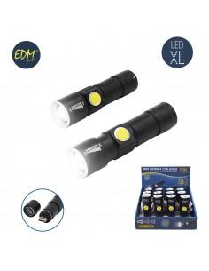 Mini linterna con zoom 1 led 120 lumens recargable con usb bateria de litio incluida alcance 60 mts