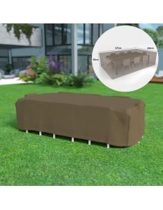Funda mesa rectangular mas 8 sillas impermeable color marron claro 325x205x90cm