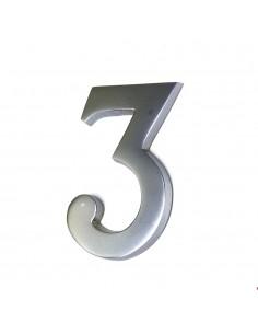 Numero 3 niquel mate 10cm fijacion invisible