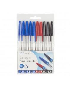 Pack de 10 boligafos rojo, negro y azul