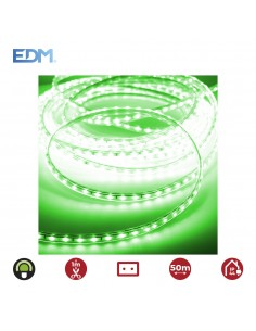 Tira de led  60led/mts 4,2w/mts verde edm 220-240v ip44 -  euro/mts