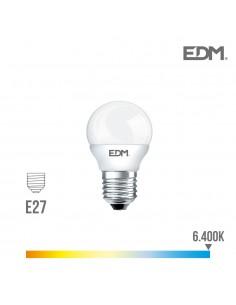 Bombilla esferica led - smd - e27 - 7w - 600 lumens - 6400k - luz fria - edm