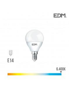 Bombilla esferica led - smd - e14 - 7w - 600 lumens - 6400k - luz fria - edm