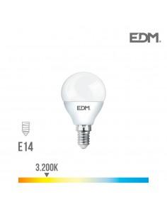 Bombilla esferica led - smd - e14 - 7w - 600 lumens - 3200k - luz calida - edm