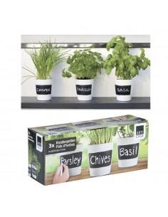 Set de 3 macetas para hierbas