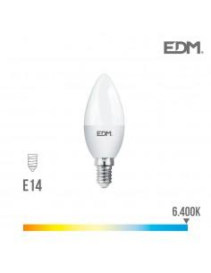 Bombilla led vela e14 7w 600lumens 6.400k luz fria edm