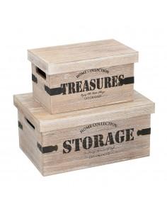 Caja de almacenamiento de madera 2 piezas