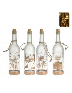 Botella de cristal decorativa con led 30cm 3xaaa