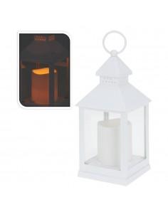 Farol con vela de led 23cm blanco