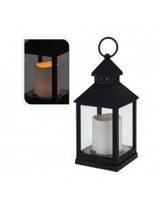 Farol con vela de led 23cm negro