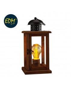 Farol madera vintage con bombilla standard incluida 13x13x27cm 3xaaa