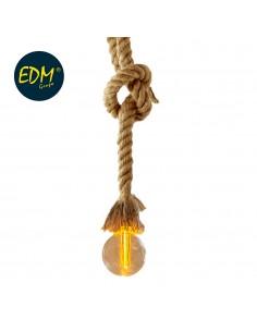 Kit colgante vintage cuerda con bombilla esferica incluida 85cm cable 3xaa