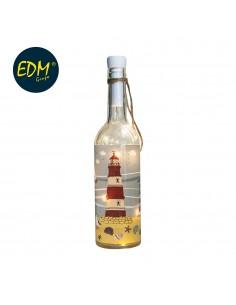 Botella de cristal vintage modelo faro con 10 leds 7,3x29,5cm 3xaaa