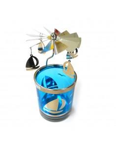 Vaso portavelas cristal con molino 7x15cm