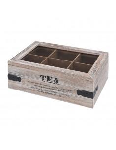 Caja de madera para guardar te 26x16x10cm
