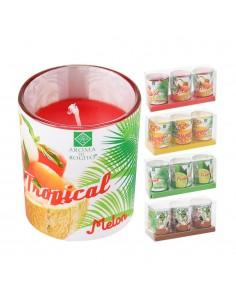 Pack 3 vela cristal diseño tropical 5x6cm colores surtidos