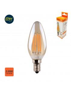 Bombilla vela filamento led cristal vintage 4,5w e14 350 lumens 2.000k edm
