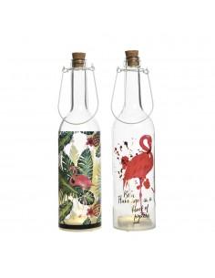Botella de cristal decorativa con leds flamencos 2 modelos surtidos
