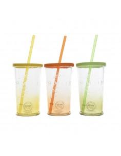 Vaso de cristal con pajita colores surtidos