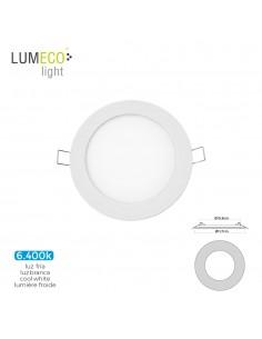 Mini downlight led lumeco 6w 320 lumens redondo 12cm 6.400k marco blanco