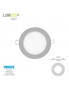 Mini downlight led lumeco 6w 320 lumen redondo 12cm 6.400k marco cromo