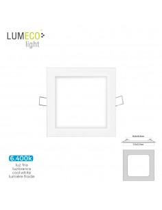 Mini downlight led lumeco 6w 320 lumen  cuadrado 12cm 6.400k marco blanco