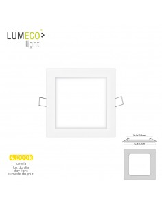 Mini downlight led lumeco 6w 320 lumen  cuadrado 12cm 4.000k marco blanco