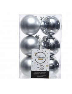 Caja de 12 bolas plata decorativas para arbol de navidad
