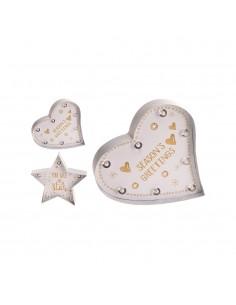Figura decorativa led  a pilas 24cm modelos surtidos (corazon y estrella)